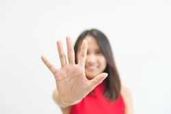 woman make hand stop with five finger