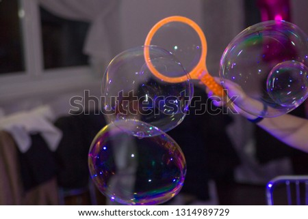 woman makes Soap bubbles,The animator makes soap bubbles for the holiday