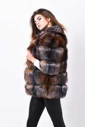 Woman makeup and hairstyle posing mink or sable fur coat. Female brown fur coat. Fur store model enjoy warm in soft fluffy coat with collar. Fur fashion concept. Winter elite luxury clothes.