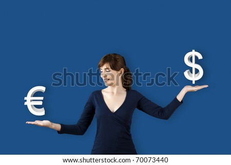 Woman making a scale with her arms and checking Euro versus Dolar