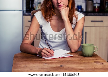 Woman making a shopping list in her kitchen