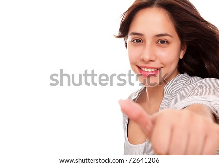 woman making a sign of positivism over white background