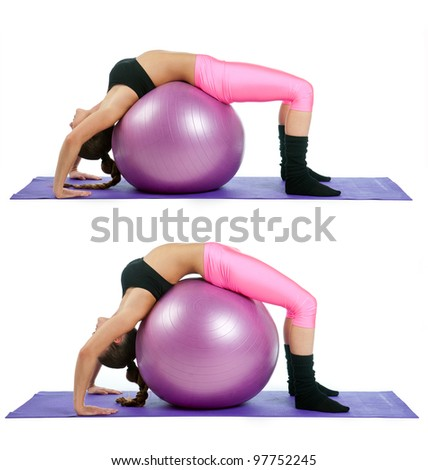 woman making bridge exercise on pilates ball in two steps