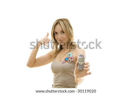 woman making 'call me' gesture holding a mobile