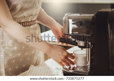 Girl Makes Mug Espresso Coffee Machine Woman Testing Machine