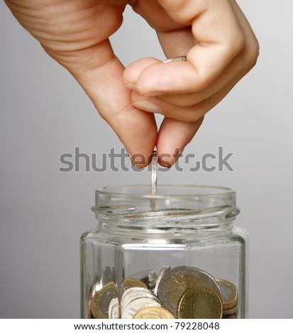 Woman making savings