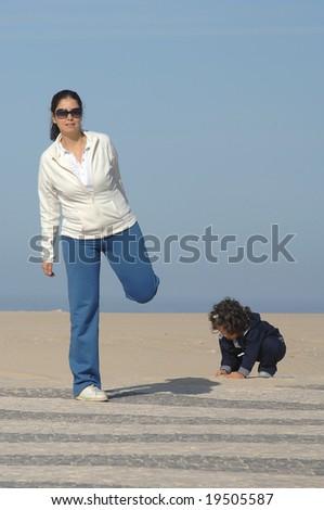 woman making stretching movements