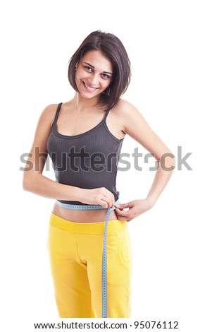 Woman measuring perfect shape of beautiful thigh. Healthy lifestyles concept