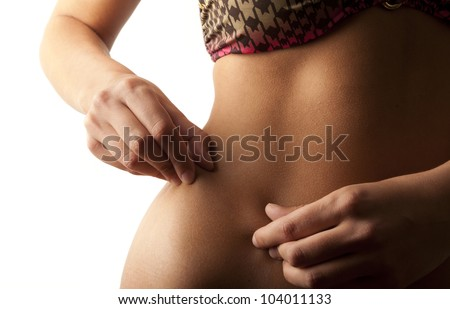Woman measuring stomach with fingers