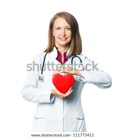 woman medical doctor holding red heart symbol  on white background