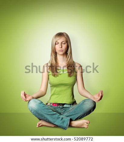 woman meditation in lotus pose isolated on white background
