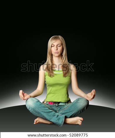woman meditation in lotus pose isolated on white