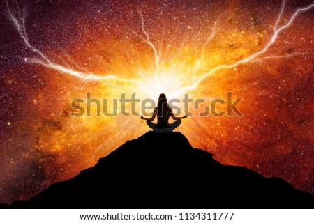 Woman meditation universe