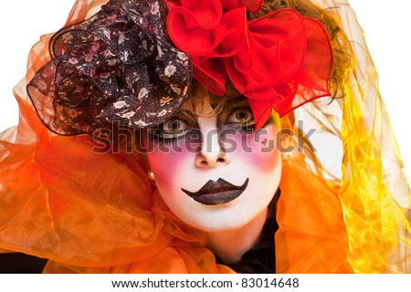 woman mime with theatrical makeup #83014648