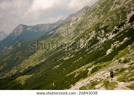 Woman mountainering in alps