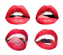 Woman mouth. Different lips set, emotions, sexy tongue and licking white lips. Red seductive lipstick. Girl lips. Young sensual girl, mouth isolated on white background. Fashion cosmetics for lips