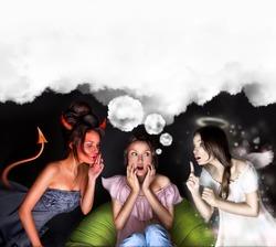 Woman must choose between the devil or angel