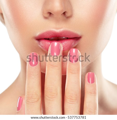 Woman nail manicure lipstick same color beauty portrait beautiful care
