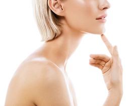Woman neck shoulder lips nose