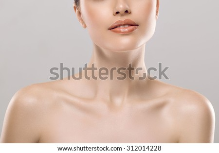 Shutterstock Woman neck shoulder lips nose