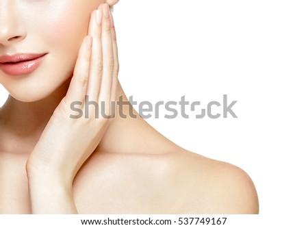 Woman neck shoulder lips nose  #537749167