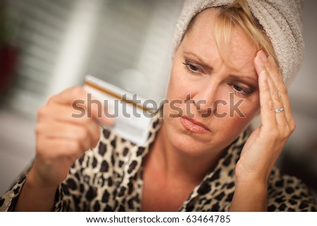 Woman Obviously Very Upset Over Her Credit Card.