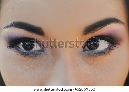 Woman of the Korean race, close. Pink shadows, beautiful eyes. Make-up - Shutterstock ID 462069550