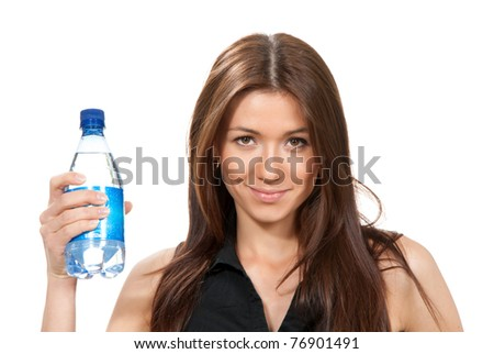 Woman offer and give bottle of pure still drinking water for diet. Female holding in hand sparkling mineral bottled water isolated on a white background