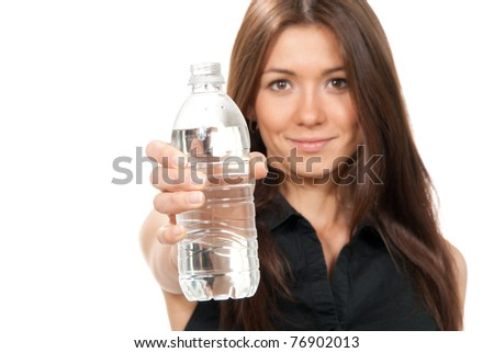 Woman offer and give bottle of pure still drinking water for diet holding in hand sparkling mineral bottled water isolated on a white background