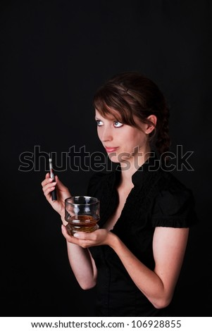 Woman offers drink and a electric cigarette