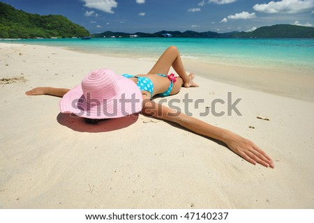 Woman on a beautiful beach