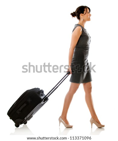 Woman on a business trip - isolated over a white background