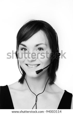 woman on a call wearing a headset