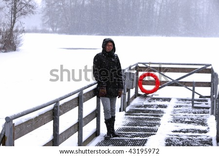 woman on a frozen lake  (moor)