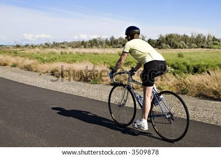 Woman on a Road Bike in Eastern Washington State