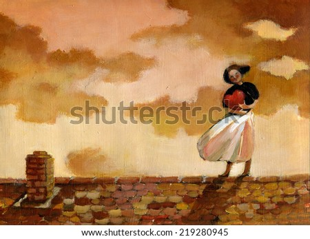 Woman on a roof with a hearth metaphor af feeling in love af a girl surreal illustration symbolic painting