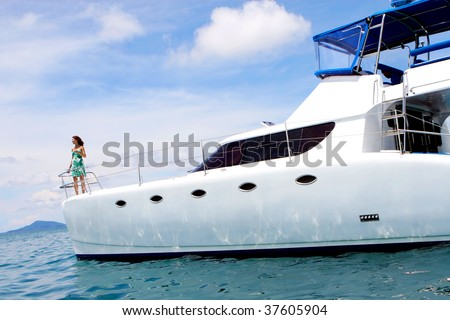 Woman on a yacht.