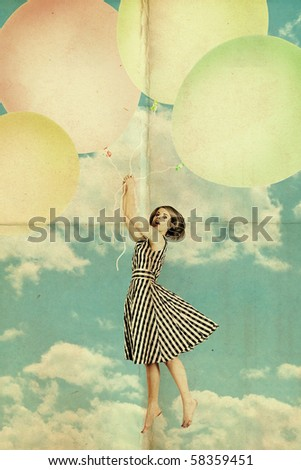 woman on air balls in white fluffy clouds in the blue sky