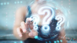 Woman on blurred background using digital question marks holographic interface 3D rendering