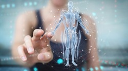 Woman on blurred background using digital x-ray human body holographic scan projection 3D rendering