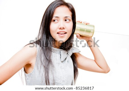woman on call with tin can phone