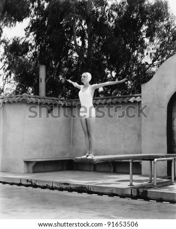 woman on diving board at...