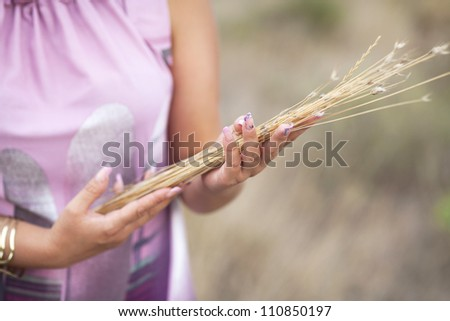 Woman on field with golden wheat after harvesting. female hands with a yellow dry autumn grass. autumn freedom concept.