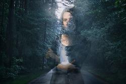 Woman on forest road background. Couples relationship theme. Divorce, separation, escape, break out idea. Photo collage.