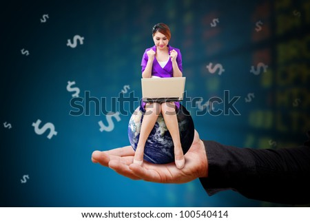 Woman on globe and stock exchange board background : Elements of this image furnished by NASA