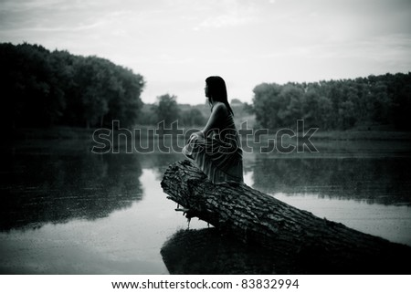 woman on lake