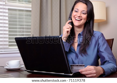Woman on phone with customer service