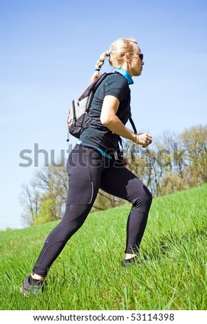 Woman on power walking workout outdoors