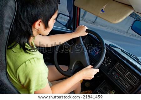 woman on road controls car #21841459