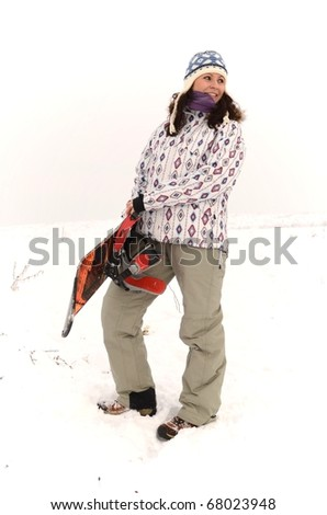 woman on snowboard